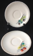 Lot of 2 Vintage Westmoreland Beaded Edge Saucers Fruit Decorated 5 1/2""
