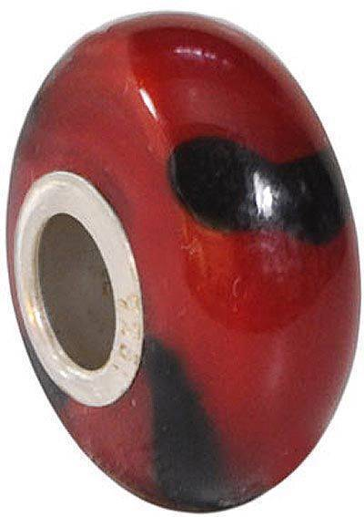 "Fenton Art Glass Handpainted Bead Made in USA ""Moulin Rouge'' Retired"