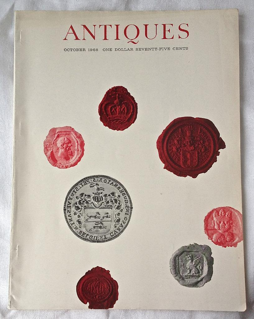 October 1968 ANTIQUES Magazine Textile printing English glass Furniture O. Rich
