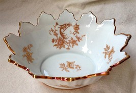 Limoges France French LIM34 Gold Bird Flowers Exotic Paradise Edged