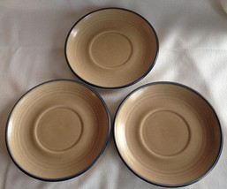 3 Vintage Pfaltzgraff Folk Art Saucer Tan Blue Edge USA