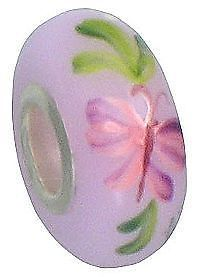 "Fenton Art Glass Handpainted Bead Made in USA ""Mystic Butterfly"" 9/16"