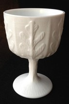 "Vtg Milk Glass Oak Leaf Pattern FTD Compote / Goblet Footed 6 1/2"" tall"