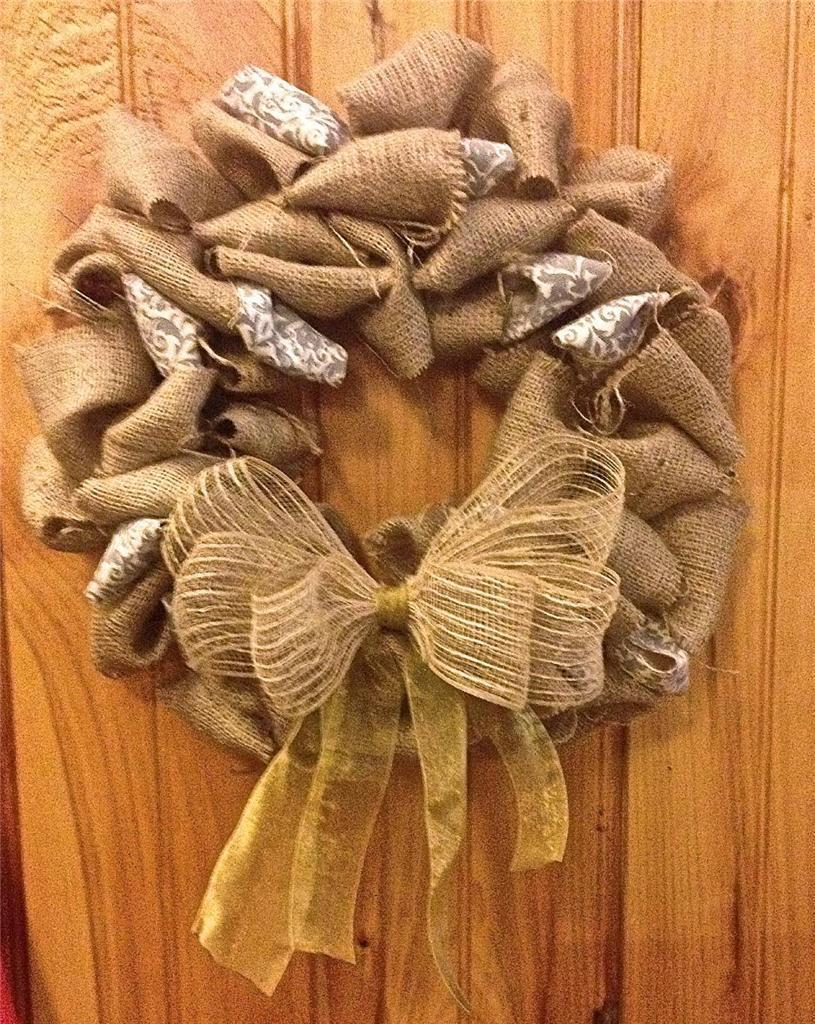 Handmade Burlap Wreath w/ Accent Bow and Gray / White Decorative Element