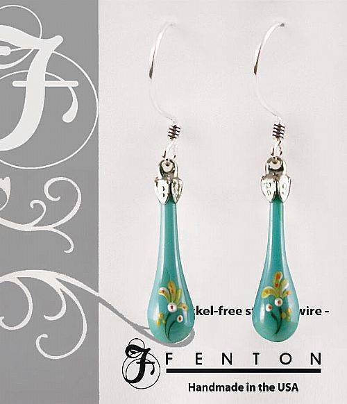 "Fenton Art Glass Handpainted Teardrop Earrings Made in USA ""The Kiss of Spring"""