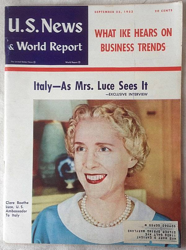 US News & World Report Magazine September 25 1953 Clare Boothe Luce Interview