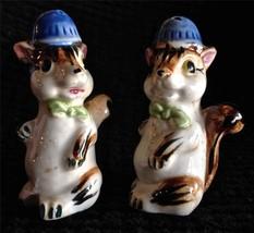 Anthropomorphic Japan Chipmunk Salt Pepper Shakers Cork Stopper