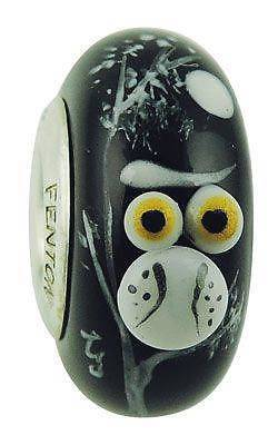 "Fenton Art Glass Handpainted and 3D Bead Made in USA ""Twitterlight Owl"""