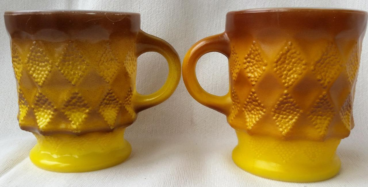 2 Vintage Fireking Kimberly Diamond Mugs Yellow Brown Anchor Hocking