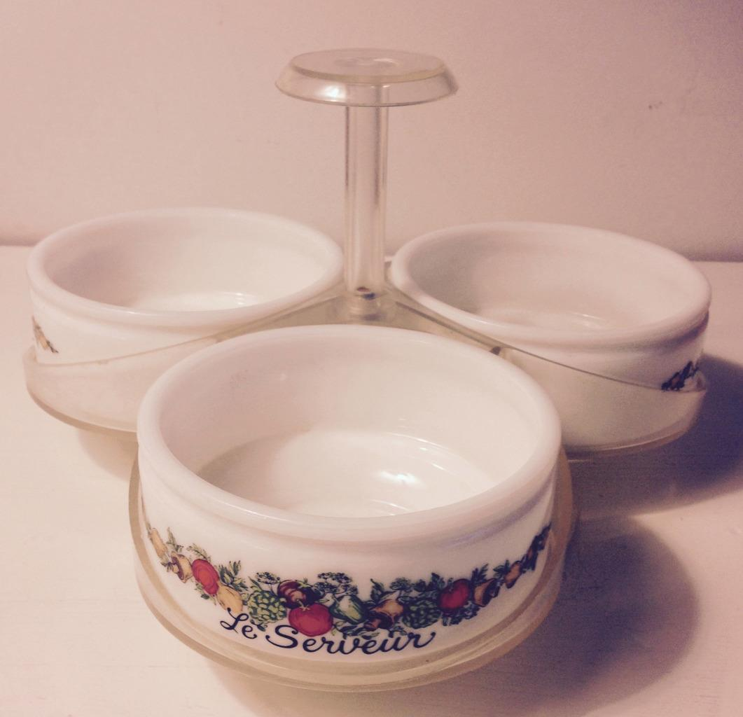 Vintage Spice of Life Lazy Susan 3 Le Servier Condiment Server Corelle Pyrex