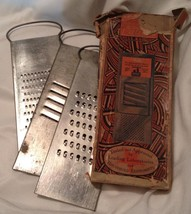 Vintage Rapid Slaw and Vegetable Cutters 3 Heavy Graters Original Box w/ Wear