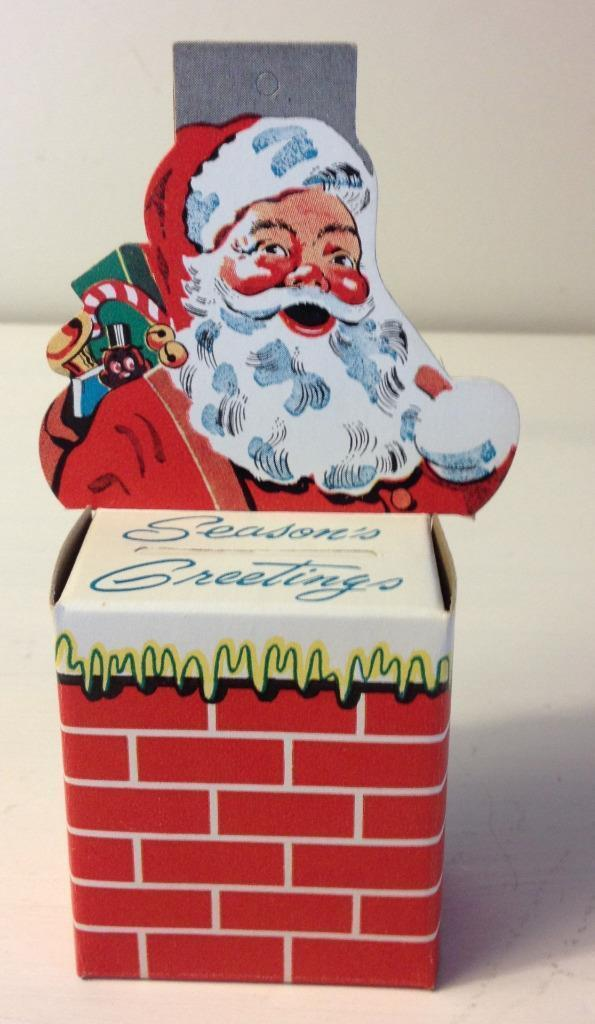 Vintage Diecut Santa Chimney Bank Ornament 3D Mellon Bank Seasons Greetings