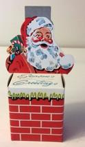Vintage Diecut Santa Chimney Bank Ornament 3D Mellon Bank Seasons Greetings
