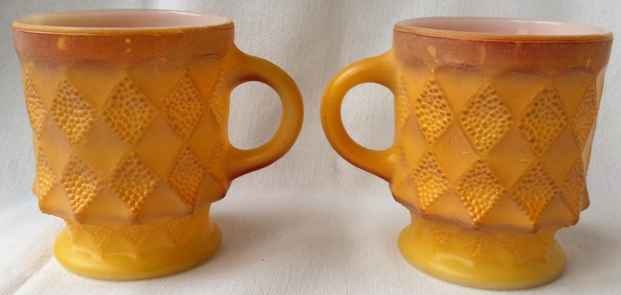2 Vintage Fireking Kimberly Diamond Mugs Creamy Yellow Red Brown Anchor Hocking