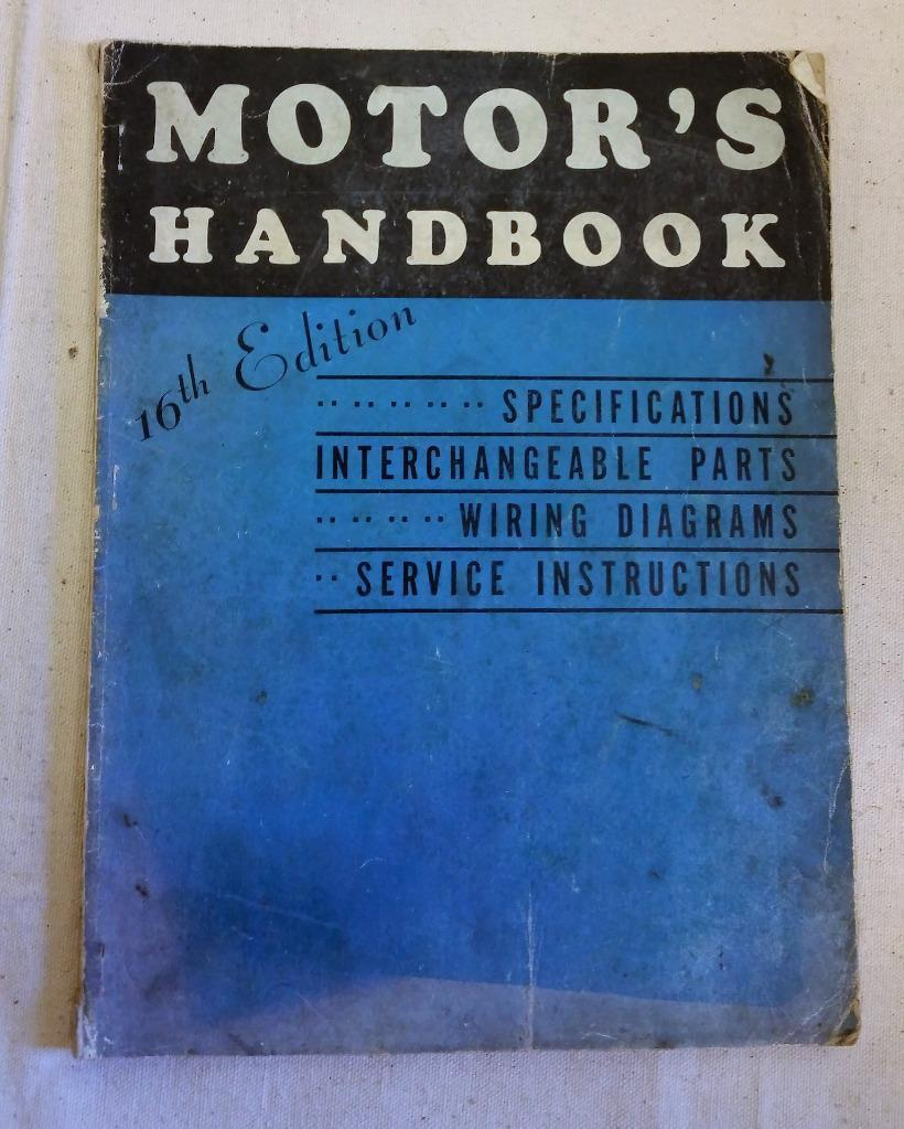 1939 Motor's Handbook 16th Edition Specifications Wiring Service All Types Cars