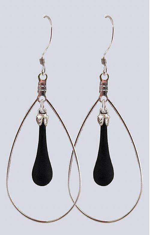 "Fenton Art Glass Teardrop Earrings Made in USA ""Black Satin"" Hoop Style"