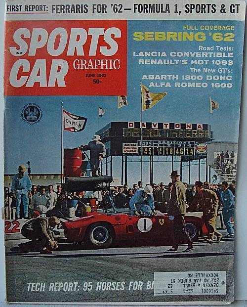 Sports Car Magazine June 1962 Ferraris Formula 1 Sebring '62Lanca Convertible