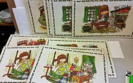 "1975 Vintage ""Cindy"" plastic Placemats Place Mats Cat Holiday Rare 11 mats"