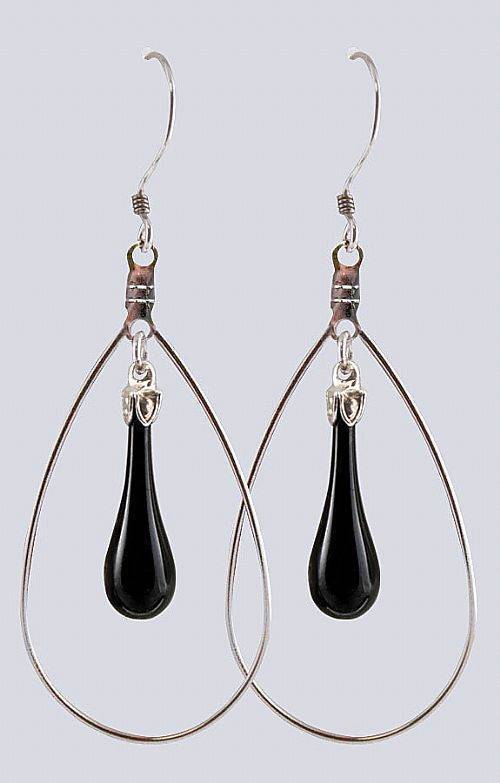 "Fenton Art Glass Teardrop Earrings Made in USA "" Shiny Black"" Hoop Style 0H621E"