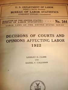 Dept Labor Court Decisions 1922 1st Ed HB Law