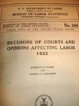 Dept Labor Court Decisions 1922 1st Ed HB Law