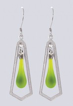 "Fenton Art Glass Teardrop Earrings Made in USA ""Chartreuse Satin"" Frame Style"