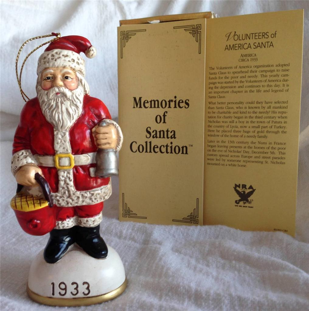 Memories of Santa SIGNED 1933 Volunteers of America Santa Ornament w/ orig box