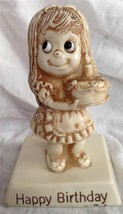 R&W Berries 1975 Sillisculpt Statue Made in USA 'HAPPY BIRTHDAY' Girl with Cake