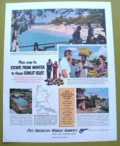 1947 Pan Am Photo Ad Pan American World Airways Map Montego Bay Jamaica
