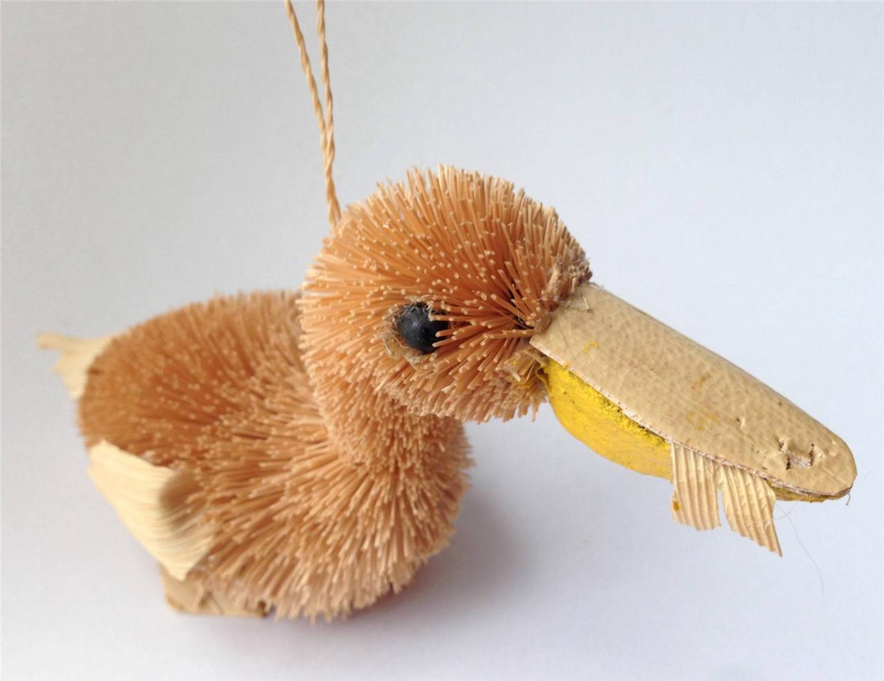 BrushArt™ Pelican Ornament: Handmade, Eco-friendly, Vegetable Fiber Animal