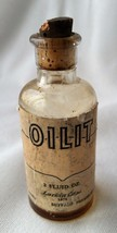 "Vintage Small Glass Oil Bottle w/Stopper Paper Label ""Oilit"" 1975 2 oz Buffalo"