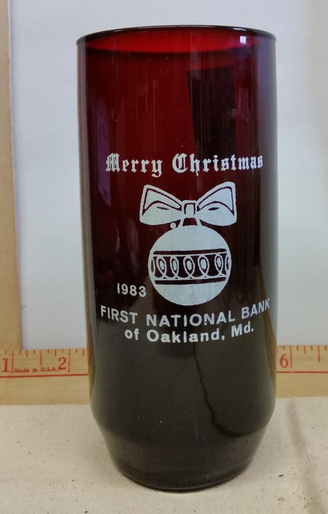 1983 Red Tumbler from First National Bank of Oakland Md Maryland