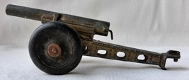 """1940's Toy Soldier Cannon Rubber Wheels Cast Metal 5 3/4"""" Long Has Firing Spring"""