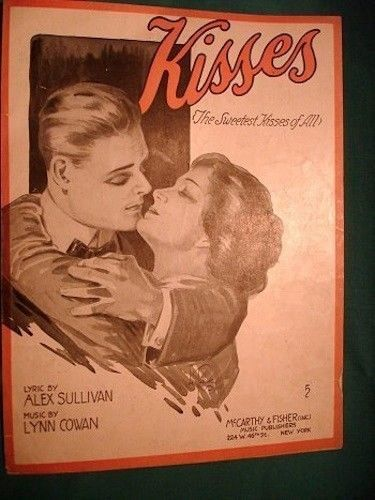1918 Vintage Sheet Music Sweetest Kisses DeTakacs