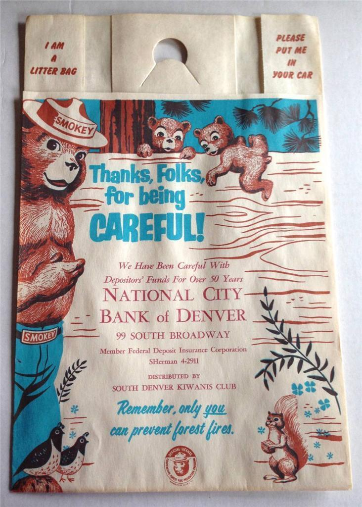 Vintage SMOKEY BEAR Paper Snap-Tab Litter Bag National City Bank of Denver MINT