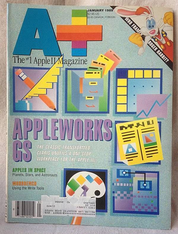 A+ Apple II Macintosh Magazine January 1989 Appleworks GS Framed Roger Rabbit