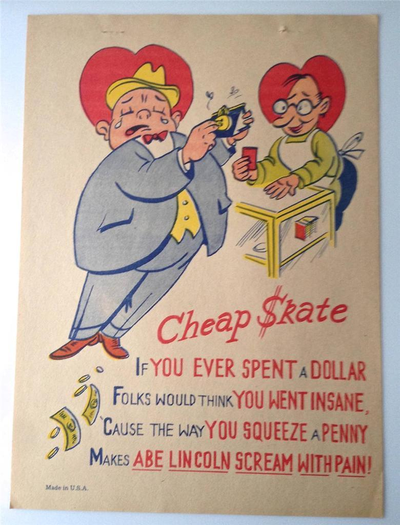 Vintage 1940's Vinegar Valentine Cheap Skate Comic Penny Dreadful USA