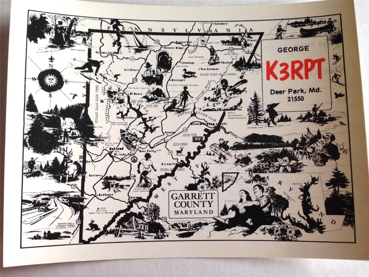 Garrett County Map Ham Radio Card QSL QSO Deer Park MD 21550 K3RPT