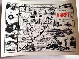 Garrett County Map Ham Radio Card QSL QSO Deer Park MD 21550 K3RPT