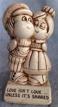 "Paula Sillisculpt Statue Made in USA 1973 ""Love Isn't Love...Unless It's Shared"""