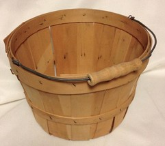 Vintage Apple Basket Shaved Wood Wire Bale Primitive Country Wedding Decor Slat