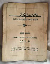 1950's Magestic Outboard Motor Model M-3n-gs 6.0 Hp Operating & Parts Manual