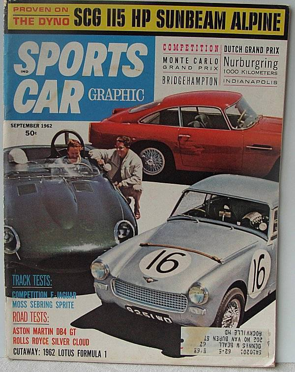 Sports Car Magazine September 1962 SCG Sunbeam Alpine Nurburgring Monte Carlo