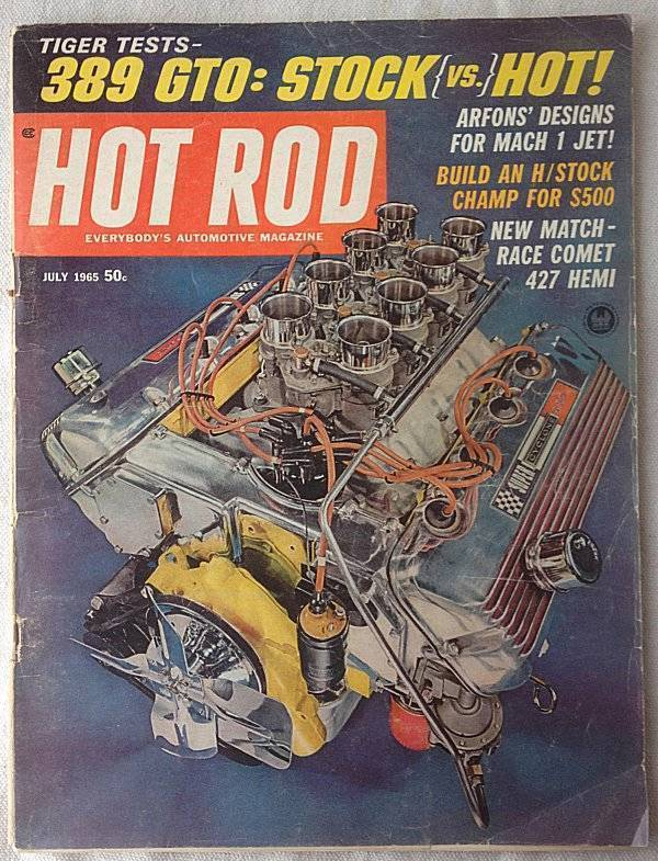 Vintage July 1965 Hot Rod Magazine 389 GTO Dtock vs Hot Mach 1 Jet 427 Hemi
