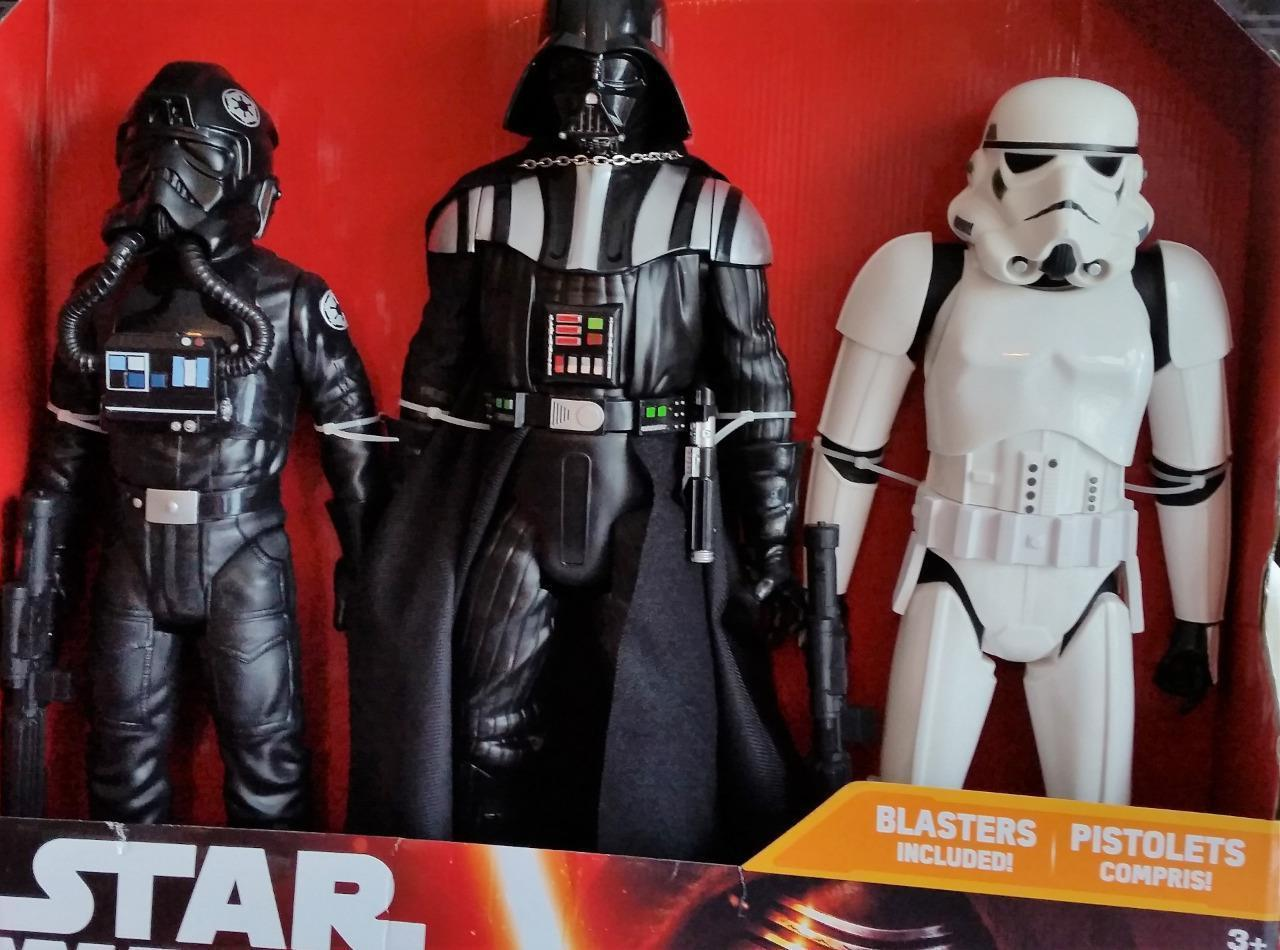 Star Wars 2015 3 Large Characters Figures Darth Vader Stormtrooper Fighter Pilot