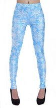 Blue With White Snowflakes Leggings Size Large - $18.99