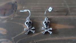 Silver Rhinestone Skull Dangle Earrings by AVON - $9.89