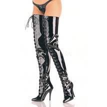 "PLEASER Sexy Exotic Scallop Trim D-Ring Lace Up 5"" Heel Crotch Length Boots - $98.95"