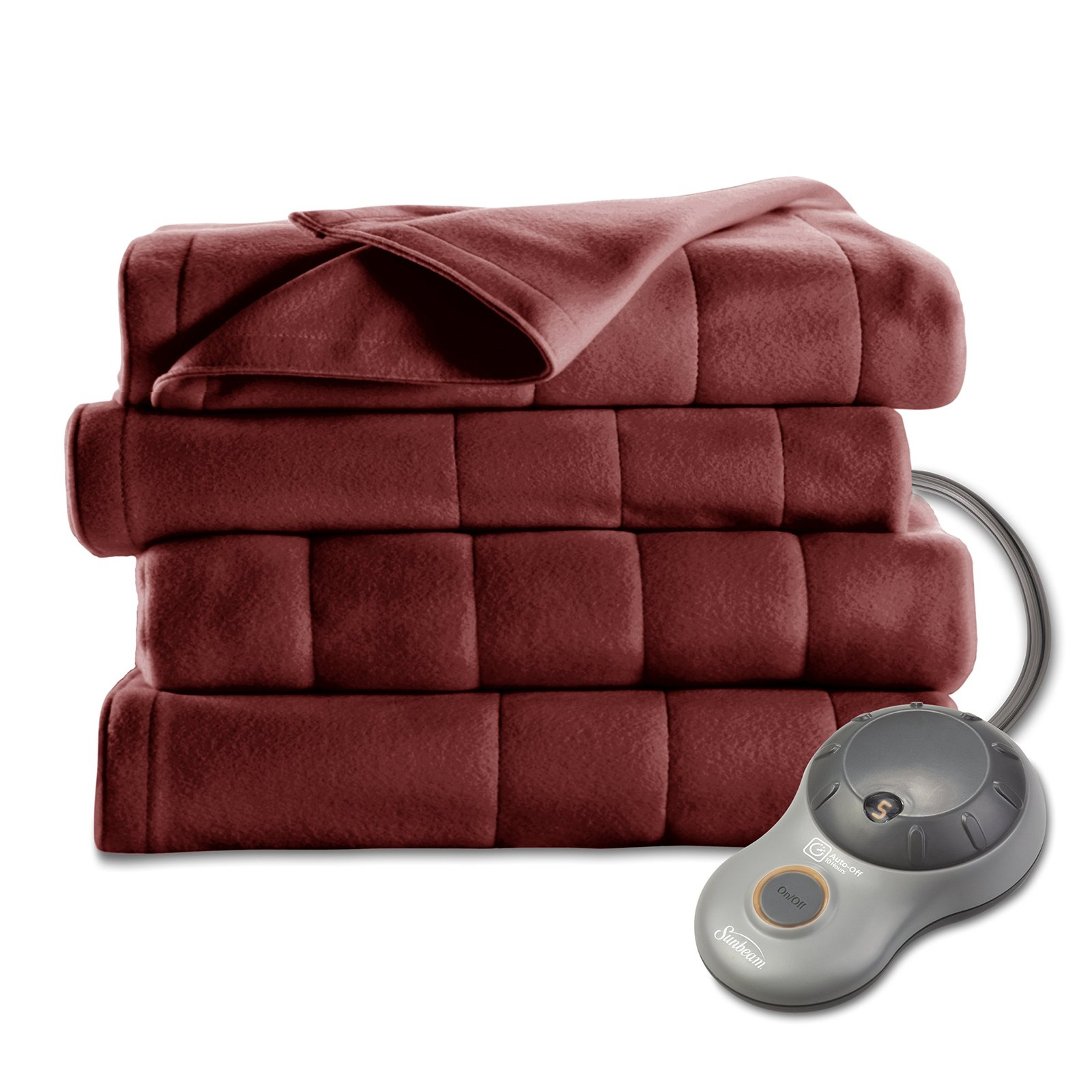 Sunbeam Quilted Fleece Heated Blanket with EasySet Pro Controller, Twin, Garnet