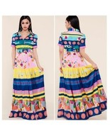 Abstract Printed Belted Maxi Dress - $55.00